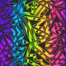 Bright Maze Geometric Seamless Pattern.