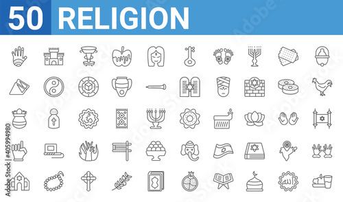 Carta da parati set of 50 religion web icons
