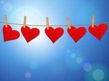 Hearts On Cloth Line