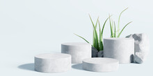 White Stone Podium, Cosmetic Display Stand With Aloe Vera On Blue Background. 3D Rendering