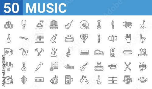 Fotografie, Obraz set of 50 music web icons