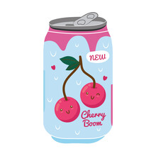 Cherry Boom Juice Fruit Can With Kawaii Characters Vector Illustration Design