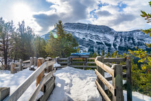 Hoodoos Viewpoint In A Snowy Autumn Sunny Day. Banff National Park, Canadian Rockies.