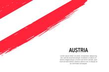 Grunge Styled Brush Stroke Background With Flag Of Austria