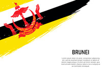 Grunge Styled Brush Stroke Background With Flag Of Brunei