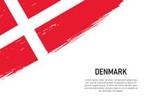 Grunge Styled Brush Stroke Background With Flag Of Denmark