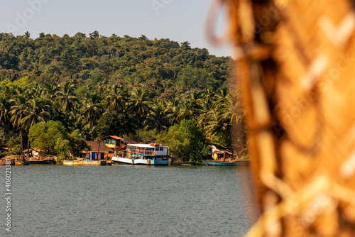 Landscape and Interiors from a boathouse drive in Charpora Goa Fotobehang