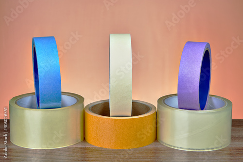 Obraz Multi Colored Adhesive Tapes On Table - fototapety do salonu