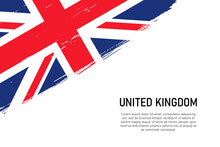 Grunge Styled Brush Stroke Background With Flag Of United Kingdom