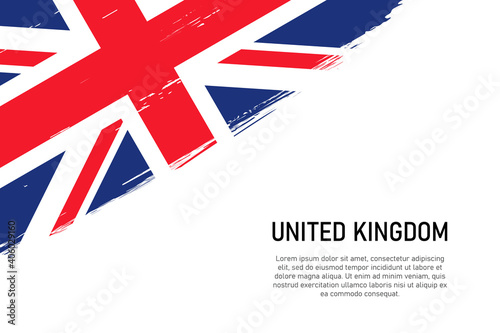 Fotografie, Obraz Grunge styled brush stroke background with flag of United Kingdom