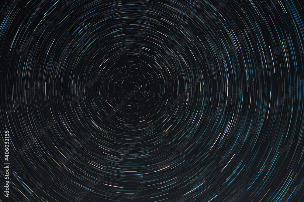 Fotografie, Obraz Full Frame Shot Of Star Trails In Sky At Night