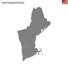 High Quality Map Of New England Division Of United States Of America With Borders
