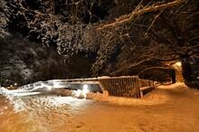 At Night In Snow At The Hertersteig In Zurich