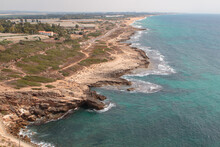Northern Israel Coastline, As Seen From The Top Of The Rosh Hanikra Cliffs.