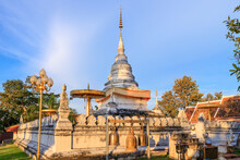 Golden Pagoda On Hill Or Mountain To At Wat Phrathat Khao Noi Temple In Evening, Nan Province, Thailand