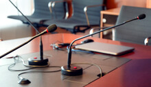 Close-up Of Microphone At Board Room