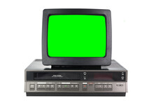 Old Black Vintage Green Screen TV And VCR From 1980s, 1990s, 2000s Isolated On White Background.