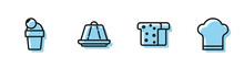 Set Line Bread Toast, Ice Cream, Pudding Custard And Chef Hat Icon. Vector.