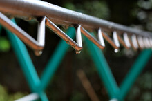 Close-up Of Water Drops On Clothesline