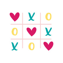 St Valentine's Holiday. Love Clipart. Tic-tac-toe. Relationship, Emotion, Passion. Sticker. Isolated On White Background.
