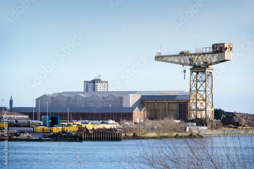 Fotografie, Obraz Shipbuilding crane in historical Govan Glasgow Scotland