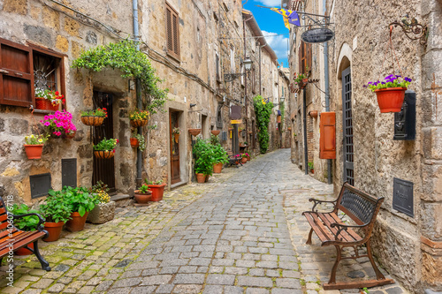 Fototapety, obrazy: A street in the old historic town of Bolsena, Italy, Europe