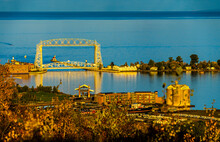 Aerial Lift Bridge, Originally Built In 1905 In St. Louis Bay In Duluth Minnesota. Only One Of Two Ever Built. Converted To Lift Bridge In 1929