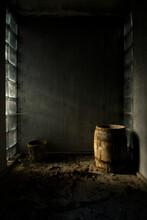 Barrel In Abandoned Room