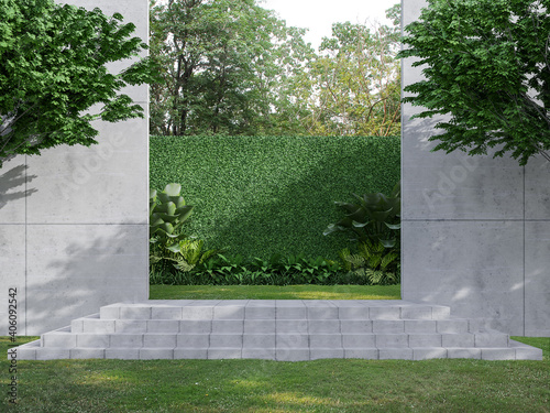 Concrete step in the green garden 3d render, There are concrete wall , green plant fence Surrounded by nature.