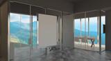 Modern office building interior. 3D rendering.. Blank paintings.  Mockup.