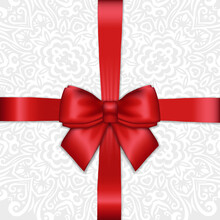 Shiny Holiday Red Satin Ribbon Bow On White Lacy Ornamental  Background. Vector Template For Greetings, Invitations, Cards