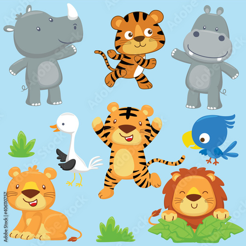 Vector set of with funny animals cartoon #406110757