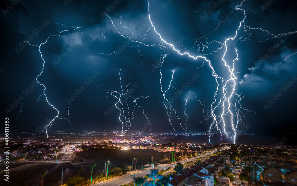 Fototapeta lightning over the city