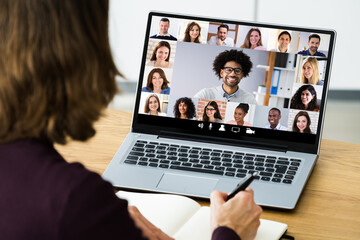 Fototapeta Boks Online Video Conference Webinar Meeting Call