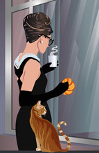 Mujer Elegante Escaparate Desayuno Gato