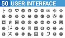 Set Of 50 User Interface Web Icons. Filled Glyph Icons Such As Up Broken Line Arrow,road,up Arrow With Ray Tracing,curved Arrow With Broken Line,arrowheads,navigation Arrow With Broken