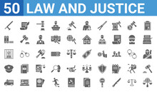 Set Of 50 Law And Justice Web Icons. Filled Glyph Icons Such As International Law,baton,prisoner Transport Vehicle,police Hat,guilty,practise Areas,law Paper,bargain. Vector Illustration