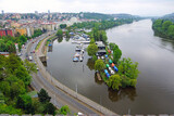 View from the height of the Visegrad district in Prague of the Vltava river, the yacht club and the city.