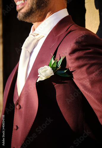 Fototapeta premium Midsection Of Man With Rose