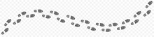 Footprints Shoe Sole Tracking Path On Transparent Background, Shoes Trail Track Vector Illustrations