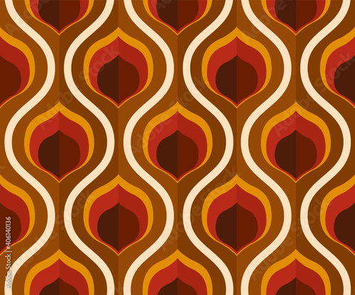 Fotografija 70's retro seamless wallpaper pattern material / vector illustration