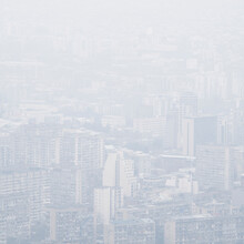 Cityscape In Dense Fog