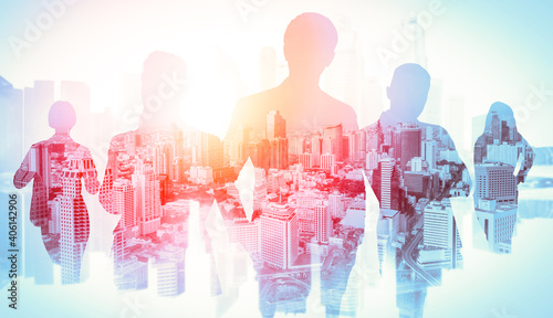 Abstract image of many business people together in group on background of city view with office building showing partnership success of business deal. Concept of employee teamwork, trust and agreement - fototapety na wymiar