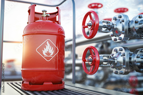 Obraz Production, delivery and filling with natural gas of lpg gas bottle or tank. - fototapety do salonu