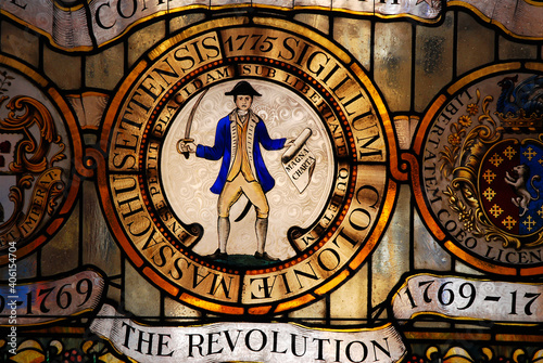 Fotografie, Obraz A stained glass window in the Massachusetts State House in Boston honors the Rev