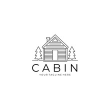 Cabin Or Cottage Logo Line Art Minimalist Vector Illustration Design