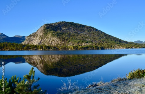 Scenic View Of Lake And Mountains Against Clear Blue Sky #406162381
