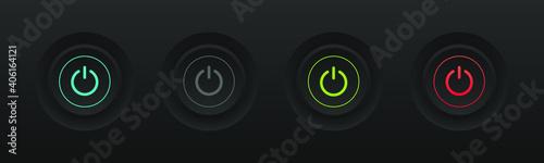 Fotografia Turn On and Off button. Modern dark design. Vector illustration.