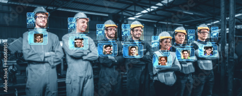 Obraz Facial recognition technology for industry worker to access machine control . Future concept interface showing digital biometric security system that analyze human face to verify personal data . - fototapety do salonu