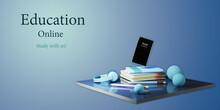 Digital Online Education. 3d Of Book, Mobile Learning On Phone Website Background. Social Distance Concept. Classroom Online Internet Network.